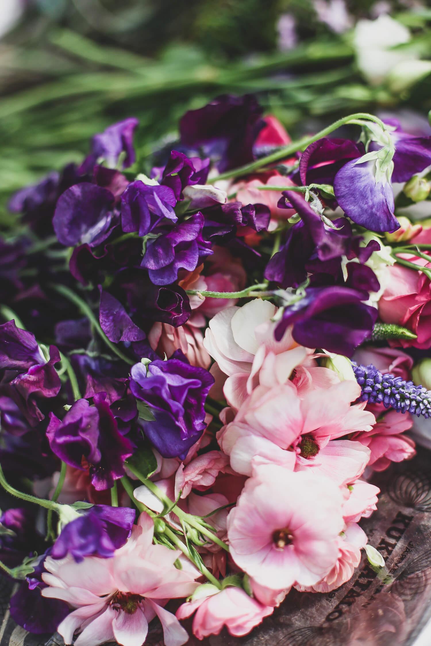 Tumman lila tuoksuherne on mielettömän hienon värinen. Vaaleanpunainen perhosleinikki on lennokkaan boheemi.
