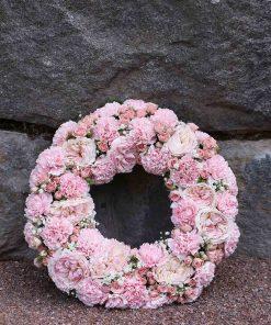 vaaleanpunainen hautaseppele