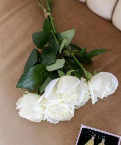 Valkoinen ruusukimppu 5 kpl